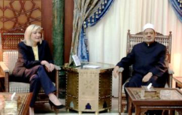 Marine le Pen et lAhmed al-Tayeb Grand Imam de la Mosquee Al-Azhar Egypte Sunnite