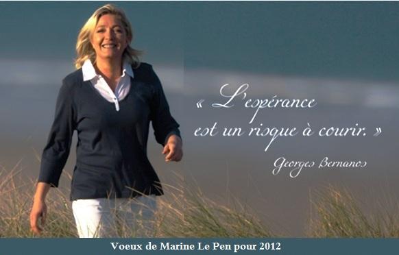 voeux de Marine Le Pen pour 2012 et l'élection Présidentielle