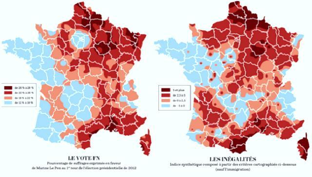 Correspondance entre les régions aux inégalités les plus fortes et le vote FN