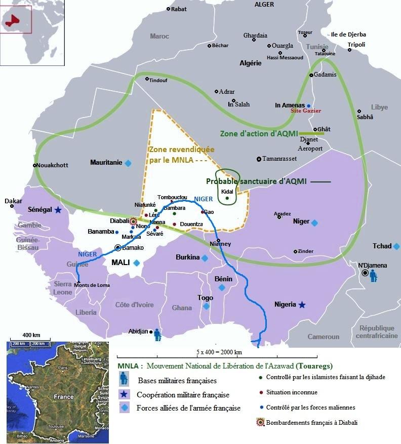 carte de l'Azawad ou Nord Mali
