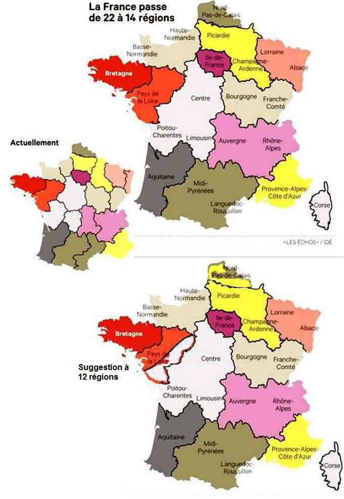 Les 14 nouvelles régions françaises