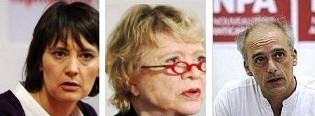 Nathalie Arthaud, Eva Joly, Philippe poutou candidats à l'élection présidentielle française de 2012